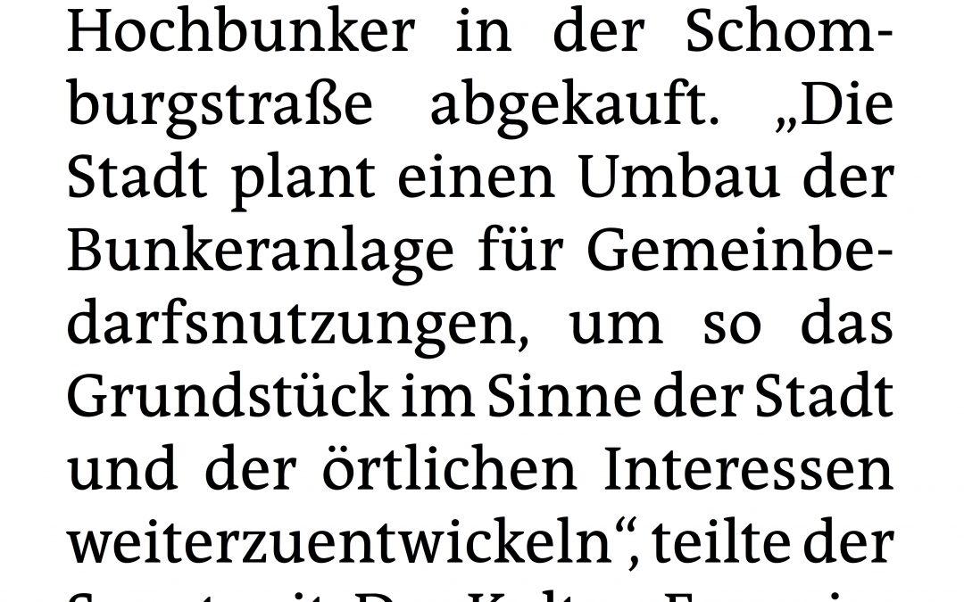 """taz: """"Stadt kauft KEBAP-Bunker"""""""